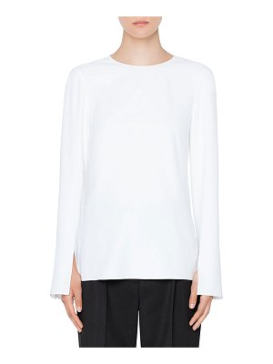 Akris punto Trumpet-Sleeve Crewneck Top
