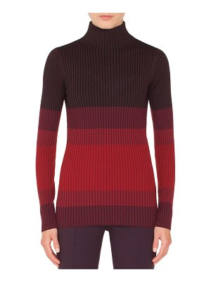 Akris punto Turtleneck Long-Sleeve Tricolor Ribbed Wool Sweater