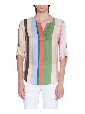 Akris punto V-Neck Memphis Glass Loose Silk Blouse