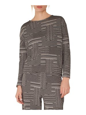 Akris punto wool & cotton patchwork jacquard top