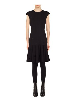 Akris punto Zip-Front Cap-Sleeve Tonal-Dot Embroidered A-Line Dress