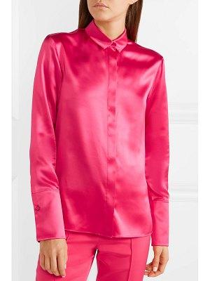 Akris pussy-bow mulberry silk-satin blouse