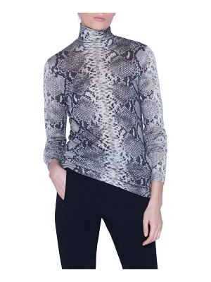 Akris Python-Print Cashmere-Silk Jersey Turtleneck Sweater