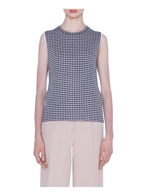 Akris reversible houndstooth jacquard cashmere blend sweater