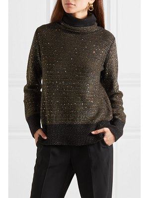 Akris sequined metallic cashmere-blend turtleneck sweater