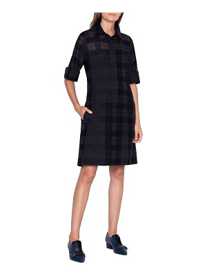 Akris Sheer Plaid Shirtdress