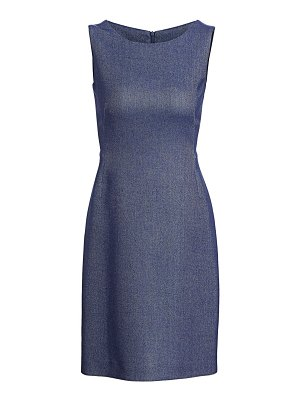 Akris sleeveless chambray piqué sheath dress