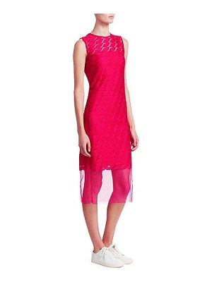 Akris sleeveless embroidery lip sheath dress