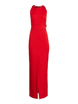 Akris sleeveless zip waistband silk crepe gown