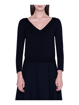 Akris Stretch Silk 3/4-Sleeve Sweater