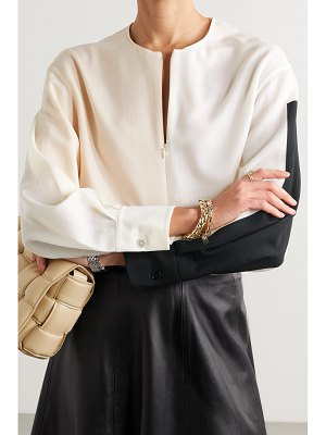 Akris tie-detailed color-block wool-twill blouse - off-white