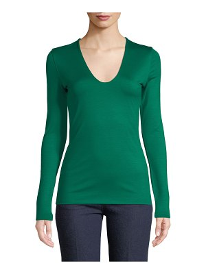 Akris V-Neck Long-Sleeve Stretch-Jersey Top
