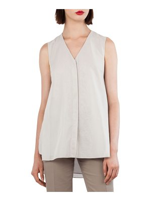 Akris V-Neck Sleeveless Cotton Voile Top