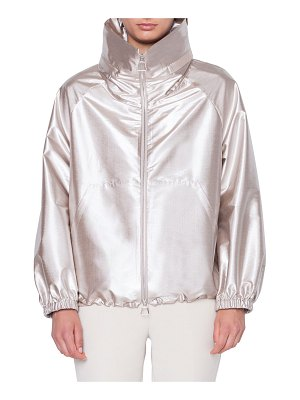 Akris Veronique High-Neck Metallic Bomber Jacket