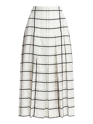 Akris windowpane check pleated midi skirt