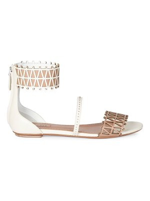 ALAIA Ankle-Cuff Laser Cut Leather Sandals