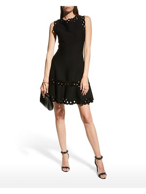 ALAIA Edition 1986 Laser-Cut Fit-And-Flare Wool Dress