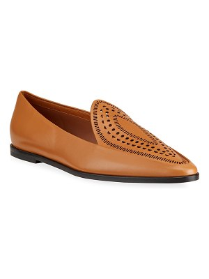 ALAIA Laser Cut Leather Moccasin Loafers