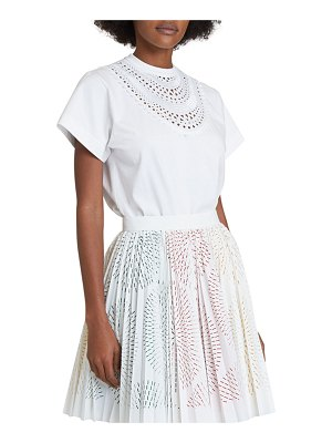 ALAIA Openwork Necklace-Embroidered Cotton T-Shirt