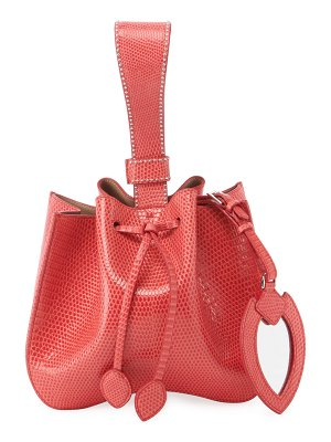 ALAIA Rose Marie Small Lizardskin Bucket Bag