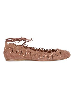 ALAIA Studded suede lace up ballerina flats