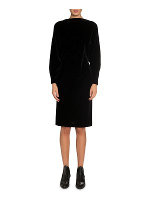 ALAIA Velvet Batwing Boat-Neck Midi Dress