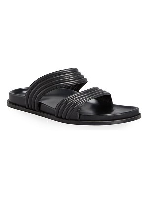 ALAIA Wavy Leather Two Band Slide Sandals