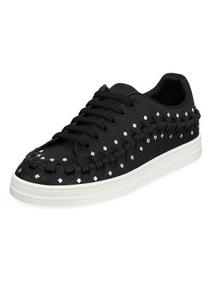 ALAIA Whipstitched Studded Platform Sneakers