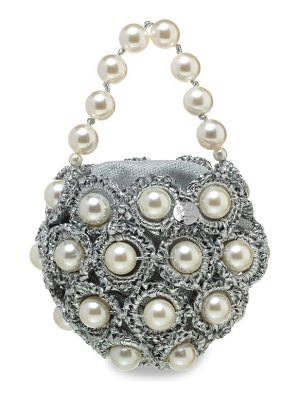 Alameda Turquesa the life of the party silvie faux pearl & woven clutch