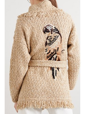 ALANUI belted beaded embroidered fringed mélange cotton-blend cardigan