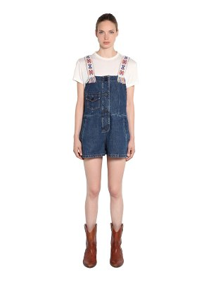 ALANUI Embroidered strap cotton denim jumpsuit