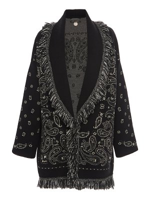 ALANUI fast wash belted fringed jacquard wool-blend cardigan