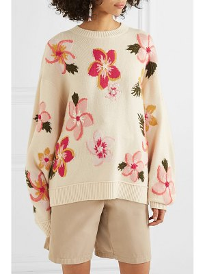 ALANUI oversized embroidered floral-intarsia cashmere sweater