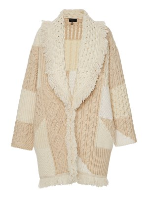 ALANUI patchwork belted fringed cashmere and wool cardigan