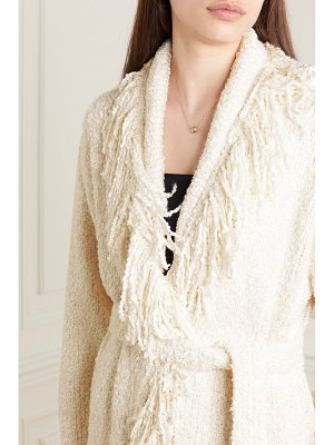 ALANUI pool party belted fringed silk-bouclé cardigan