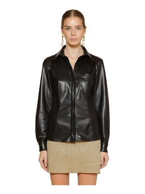 ALBERTA FERRETTI Fitted faux leather shirt