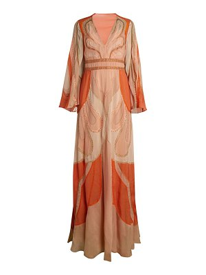 ALBERTA FERRETTI hand embroidered patchwork fantasy chiffon silk gown