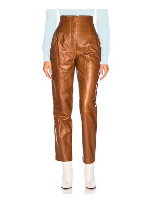 ALBERTA FERRETTI High Waisted Leather Tapered Pants