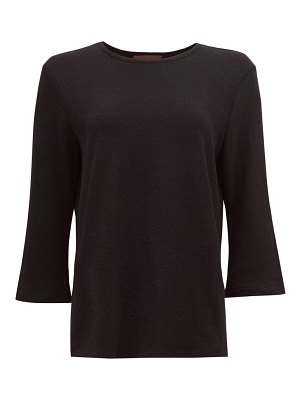 ALBUS LUMEN cropped-sleeve cotton-blend terry top