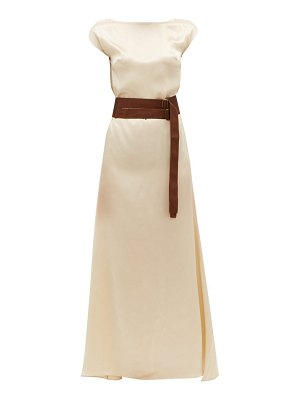ALBUS LUMEN inez boat-neck belted silk-satin dress