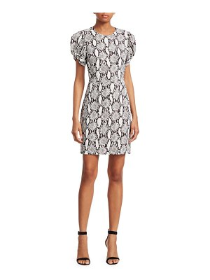 A.L.C. Brinley Puff-Sleeve Snake Print Sheath Dress