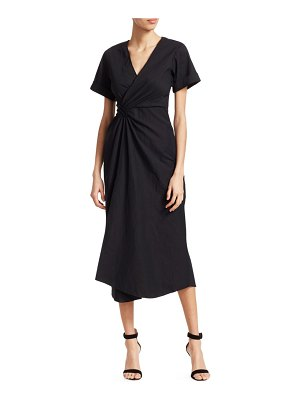 A.L.C. Edie Linen-Blend Wrap Midi Dress