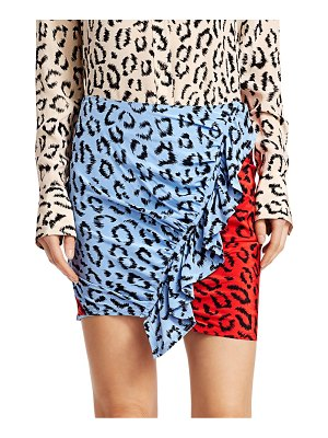 A.L.C. Geller Leopard Print Sretch Silk Mini Skirt