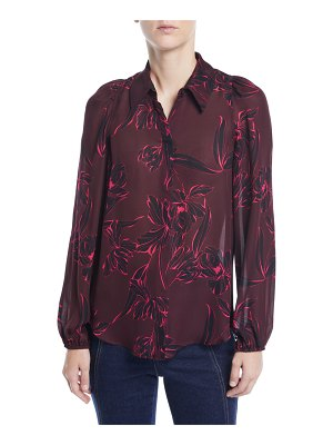 A.L.C. Lori Floral-Print Silk Long-Sleeve Top
