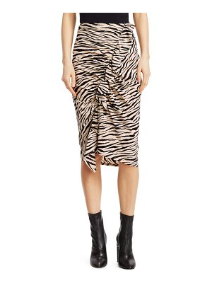 A.L.C. Metz Tiger-Print Stretch Silk Ruffle Skirt