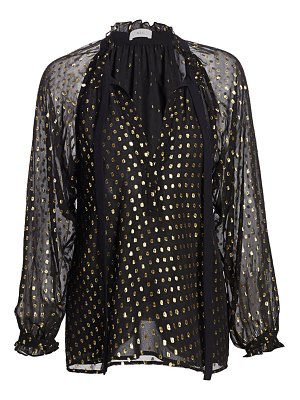 A.L.C. winona metallic polka dot tie-neck silk blouse