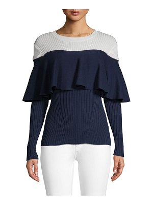Alcee Ruffled Contrast Cotton Sweater