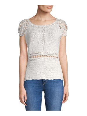 Alcee Sage Cut-Out Crochet Cotton Top