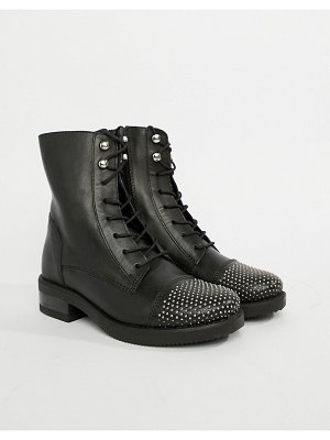 ALDO leather lace up flat ankle boots