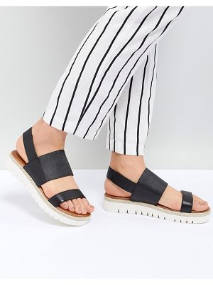 ALDO Black Wide Strap Flat Leather Sandal With Track Sole